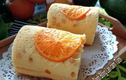 Cách làm bánh bông lan cuộn cam tươi thái lát – The ngon, ngọt ngào