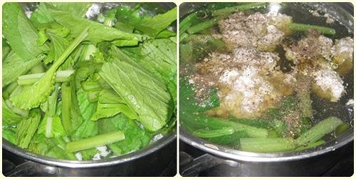 Cách nấu canh cua đồng rau cải