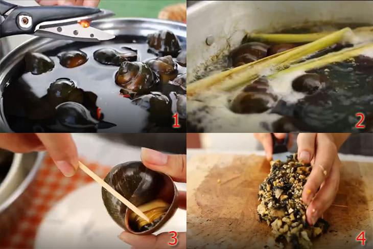 Thơm ngon, lạ miệng với cách nấu ốc bươu xào chuối xanh đặc biệt 3