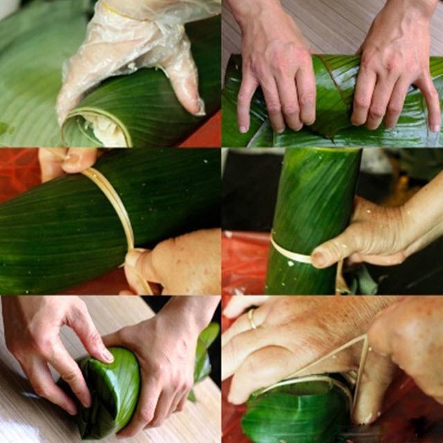 cách gói giò xào bằng lá chuối