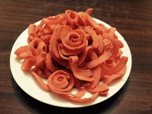 cách làm mứt dừa hình hoa hồng