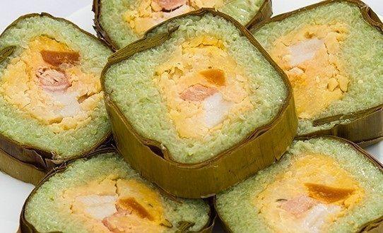 cách làm bánh tét lá dứa 6