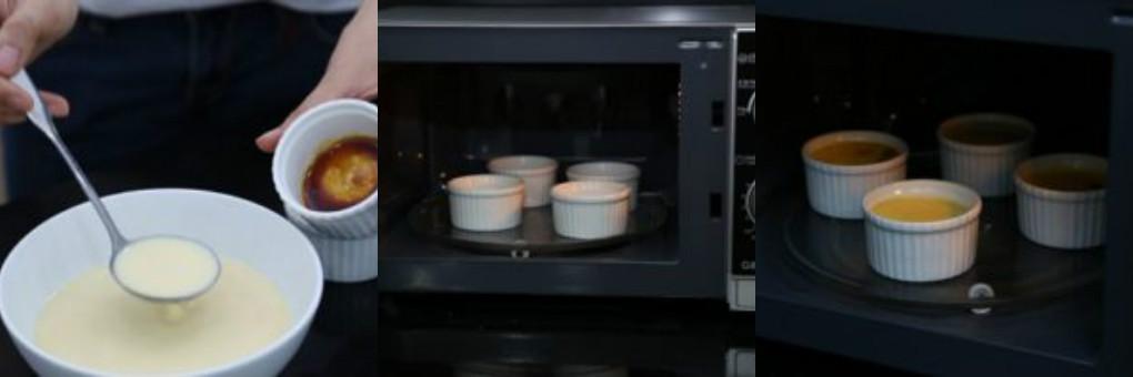 cách làm kem flan bằng lò vi sóng 4