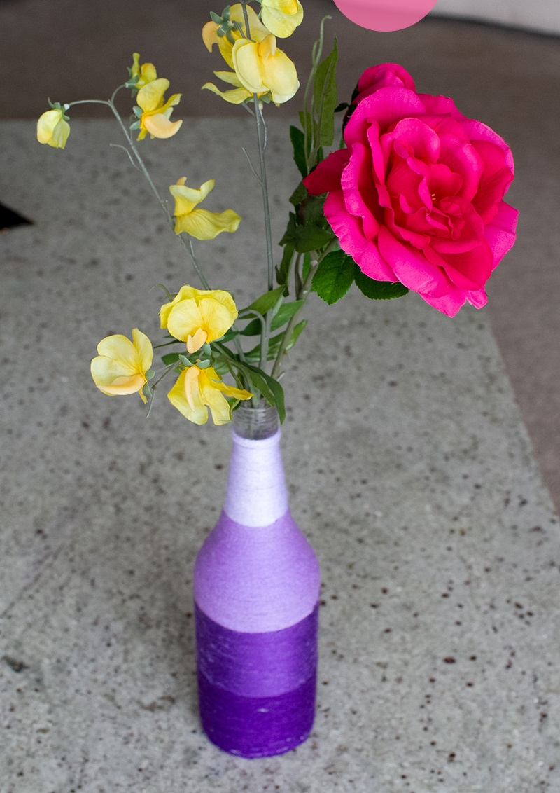 làm bình hoa quấn len