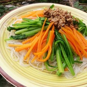 miến xào rau cải