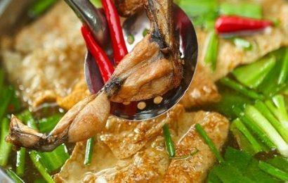 Cách nấu lẩu ếch om măng chống ngán